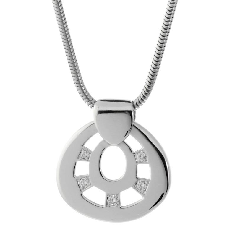 Hermes Diamond Pendant White Gold Necklace