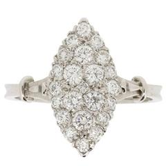 Vintage Marquise-Shaped Diamond Cluster Ring, circa 1970s