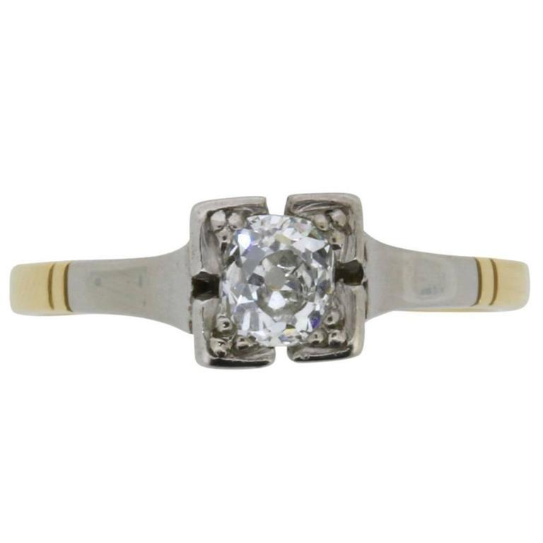 Edwardian 0.40 Carat Old Cut Diamond Solitaire Engagement Ring, circa 1910s