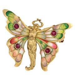 Whiteside & Blank Art Nouveau Ruby Gold Enamel Butterfly Brooch