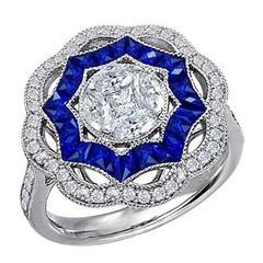 Blue Sapphire Diamond White Gold Cocktail Ring