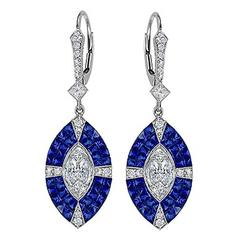 Invisible Set Sapphire Diamonds Lever-Back Drop Earrings in White Gold