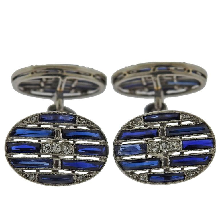 1920s Art Deco Sapphire Diamond Gold Cufflinks