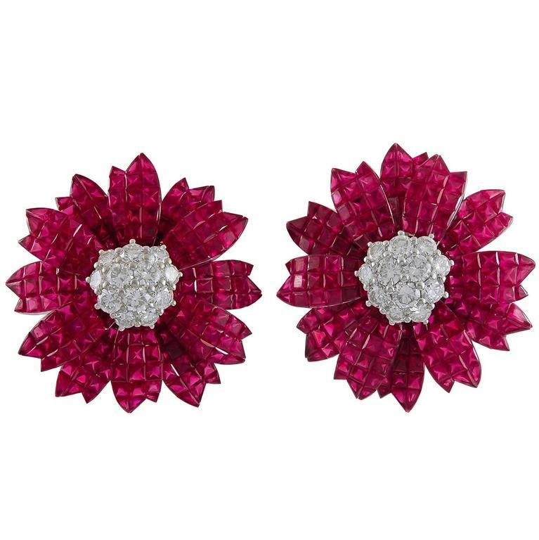 Sabbadini Ruby Diamond White Gold Earrings