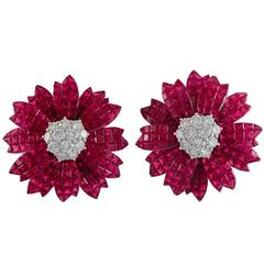 Sabbadini Ruby Diamond White Gold Earrings