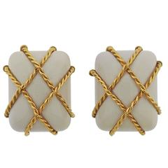 Seaman Schepps White Coral Gold Cage Earrings