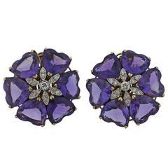 Retro Amethyst Diamond Gold Large Flower Earrings