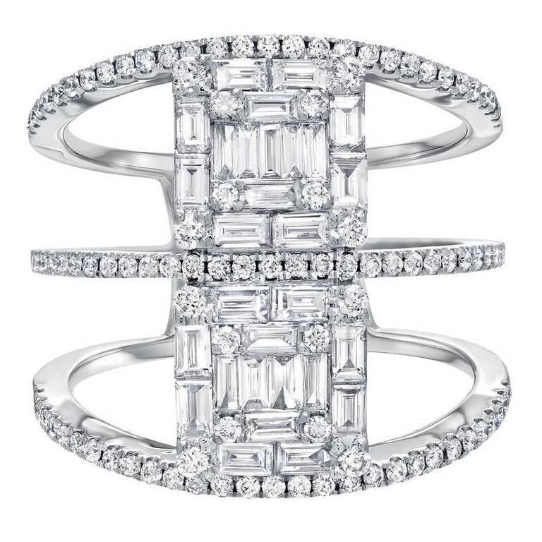 Baguette Round Brilliant Diamond White Gold Cocktail Ring 1
