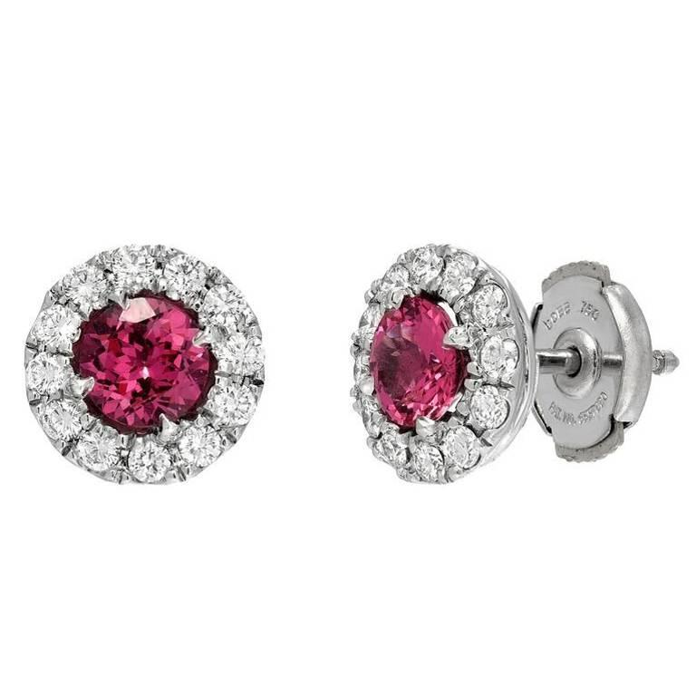 Pink Spinel Diamond Halo Platinum Stud Earrings  For Sale