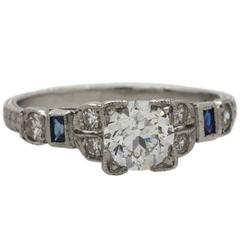 0.71 Carat Old European Cut Diamond Platinum Engagement Ring