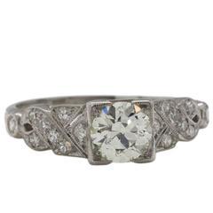 0.75 Carat Round Brilliant Diamond Platinum Engagement Ring, circa 1930s