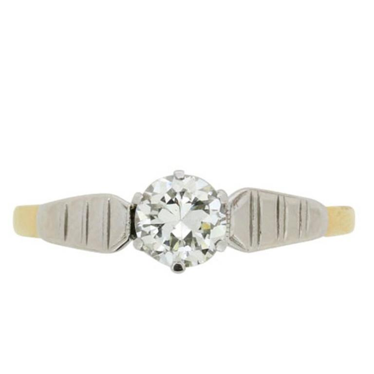 0.40 Carat Transitional Cut Diamond Yellow Gold Platinum Engagement Ring