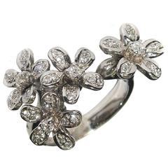 Diamond White Gold Floral Ring