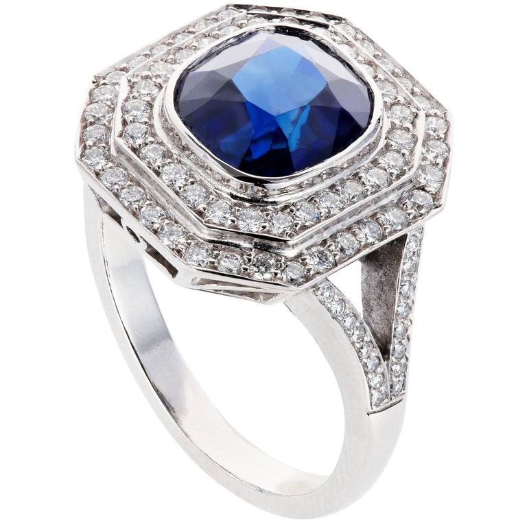 Octagonal Sapphire Diamond Platinum Cluster Engagement Ring