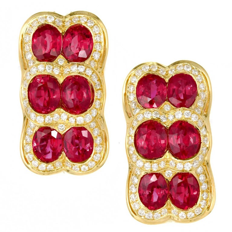 Spark Red Ruby Diamond Yellow Gold Dangle Earrings