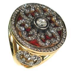 Rose Cut Diamond Enamel Gold Ring