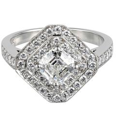 Asscher Cut Diamond Platinum Octagonal Cluster Engagement Ring
