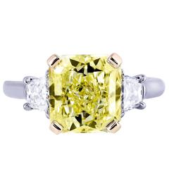 4.01 Carat GIA Certified Fancy Yellow Diamond Three-Stone Engagement Ring