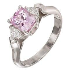 GIA Certified 1.26 Carat Natural Pink Sapphire Diamond Platinum Engagement Ring