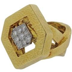 David Webb Diamond Gold Platinum Ring