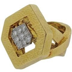 David Webb Diamond Gold Platinum Ring
