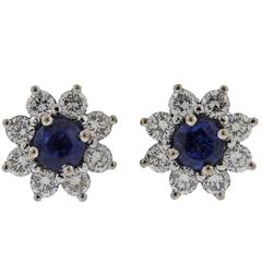 Asprey London Sapphire Diamond Gold Stud Earrings