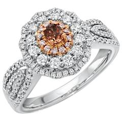 Gia Certified 0.17 Carat Fancy Deep Pink Brown White Gold Ring