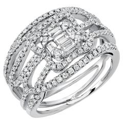 Baguette Round Brilliant Diamond White Gold Ring