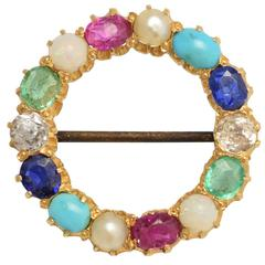 Antique Victorian Harlequin Multi-Gem Halo Brooch