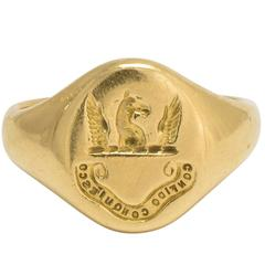 """Victorian """"I Trust and Am Content"""" Heraldic Intaglio Signet Ring"""