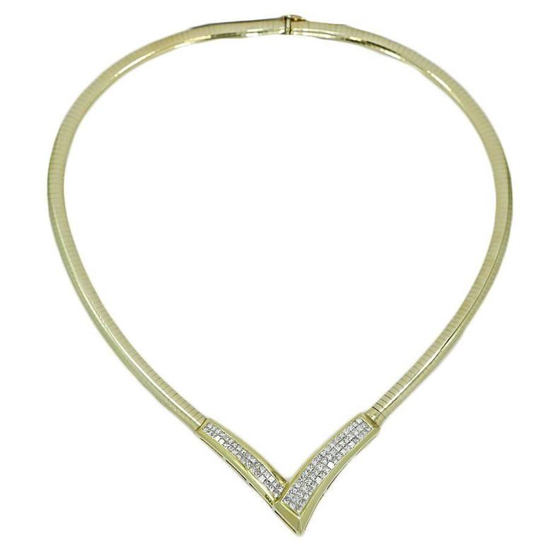 Omega V-Shape Princess Cut Diamond Yellow Gold Necklace