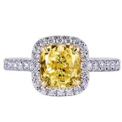 GIA Certified Fancy Light Yellow Diamond Halo Engagement Ring