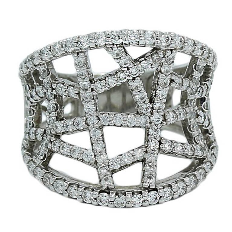 Abstract 1.50 Carat Diamond White Gold Ring