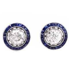 Sapphire Diamond Platinum Target Stud Earrings