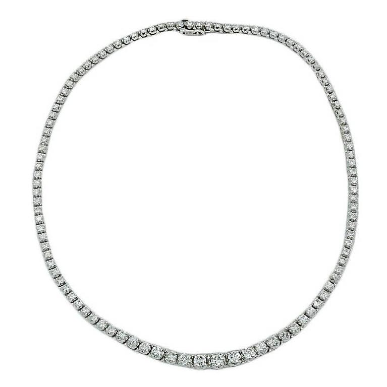 20.00 Carat Diamond White Gold Riviere Necklace