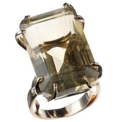 Citrine Cocktail Ring in 14 Karat Yellow Gold