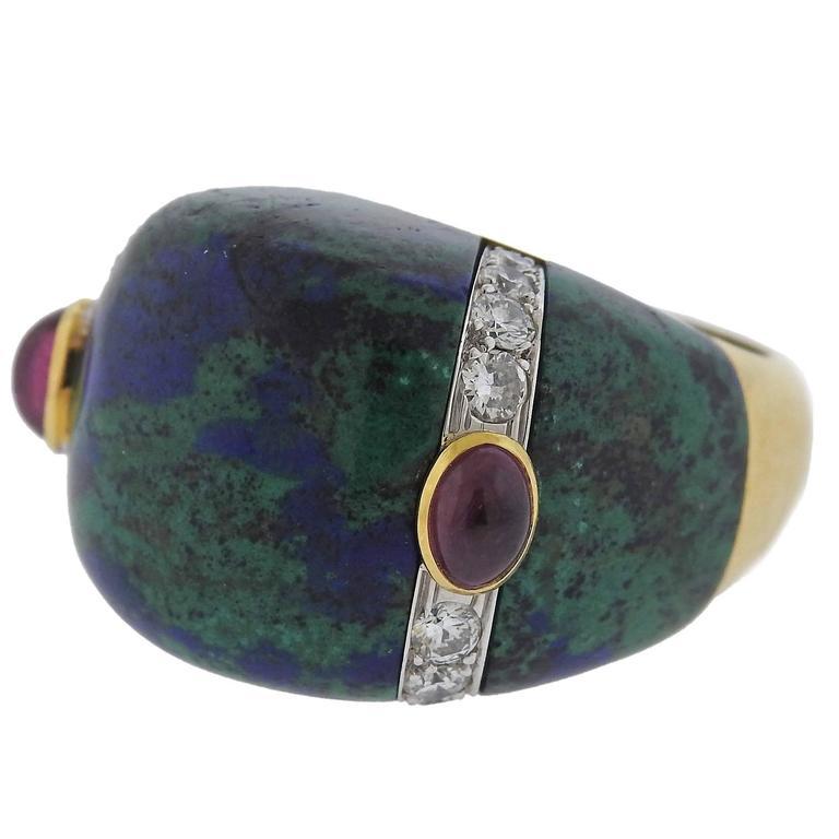 David Webb Azurmalachite Diamond Ruby Gold Platinum Ring
