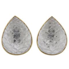 David Webb Carved Rock Crystal Gold Earrings