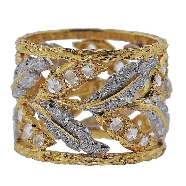 Buccellati Rose Cut Diamond Gold Wide Leaf Ring