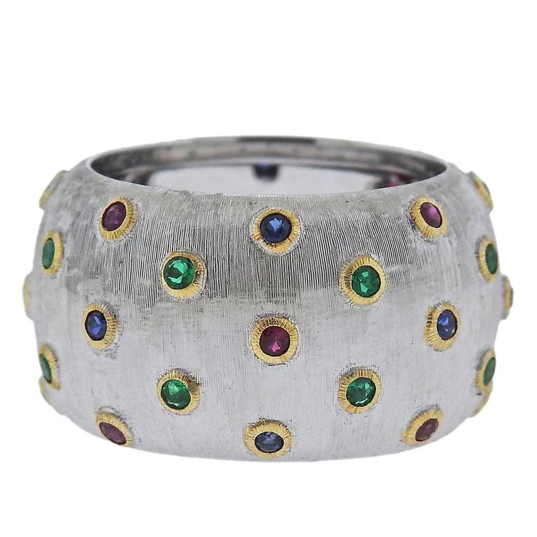 Buccellati Ruby Sapphire Emerald Gold Band Ring For Sale