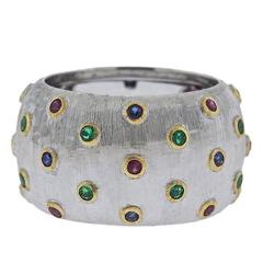 Buccellati Ruby Sapphire Emerald Gold Band Ring