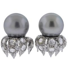 Buccellati South Sea Pearl Rose Cut Diamond Gold Earrings