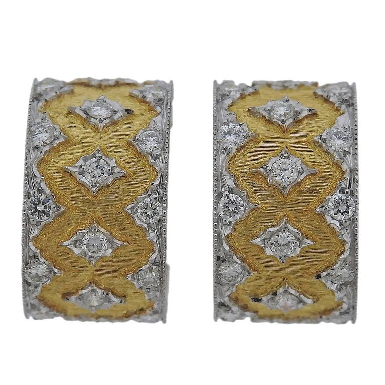 Buccellati Diamond Two Color Gold Hoop Earrings