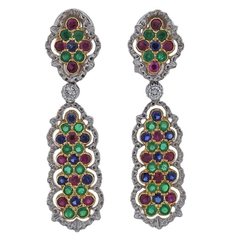 Buccellati Sapphire Ruby Emerald Diamond Gold Drop Earrings