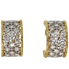 Buccellati Diamond Two color Gold Earclips