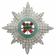 1940s Cartier 2.10 Carat Diamond Ruby Emerald Platinum Military Brooch
