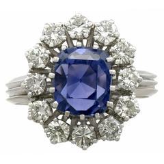1970s Sapphire Diamond White Gold Cluster Ring