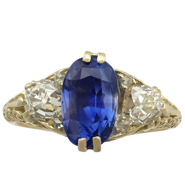 1890s Victorian 3.11 Carat Sapphire Diamond Yellow Gold Trilogy Ring