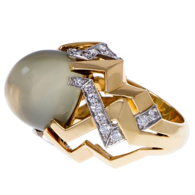Tiffany & Co. Paloma Picasso Moonstone Diamond Gold Platinum Ring 1