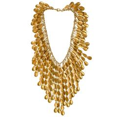 Robert Lee Morris Rare Gold-Plated Silver Waterfall Collar Necklace